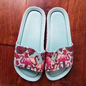 Melissa Mel Flamingo Beach Slides Youth Girls Sz 1